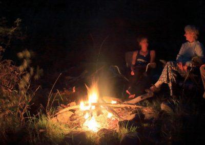 Multi day river trip campfire