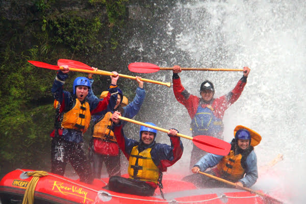 Raft going under waterfall on the Rangitikei River