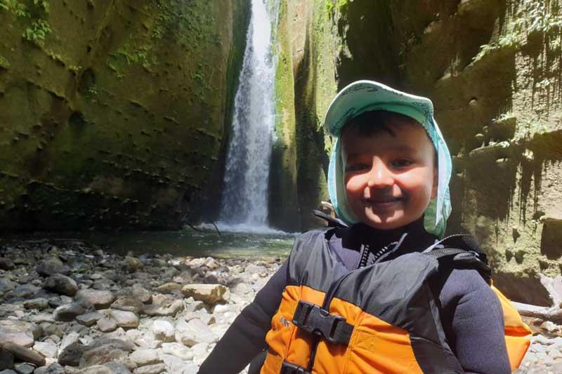 kid on Mokai Canyon multi day river trip